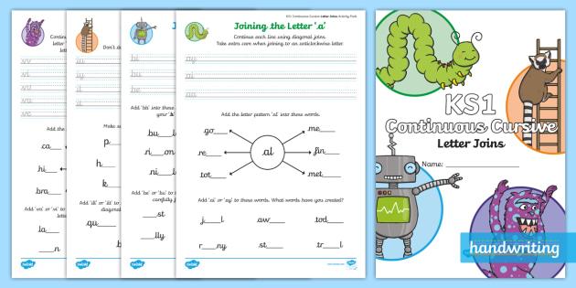 new ks1 practising continuous cursive letter joins activity booklet. Black Bedroom Furniture Sets. Home Design Ideas