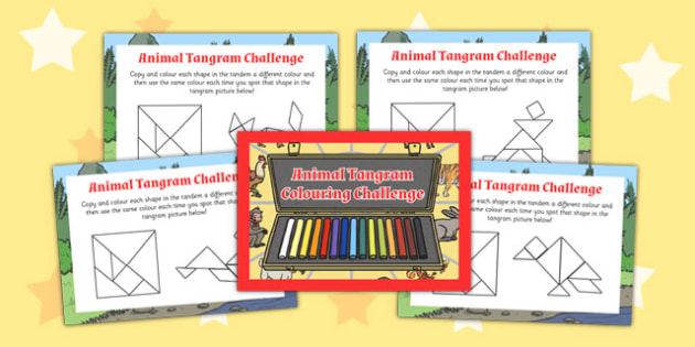 Chinese New Year Colouring Tangram Challenge Cards - challenge