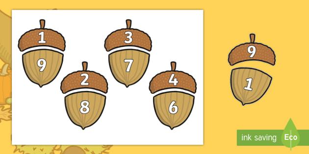 Autumn Acorn Number Bonds to 10 - autumn, acorn, number bonds, autumn themed number bonds, numbers to 10,  themed number bonds, autumn themed