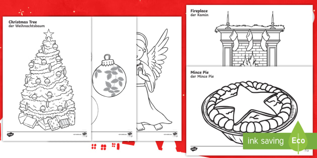 christmas colouring pages englishgerman holidays advent eal german english