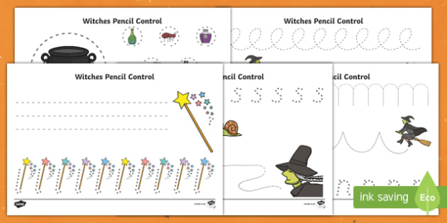 Witches Pencil Control Activity Sheets