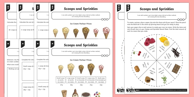 Adding 2 Two-Digit Numbers Without Crossing the Tens Boundary Differentiated Activity Sheets - Addition and Subtraction, add, more, plus, and, make, altogether, total, equal to, equals, double, m