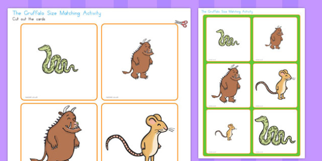The Gruffalo Matching Size Activity - australia, gruffalo, matching