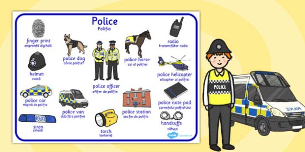 Police Word Mat Romanian Translation - romanian, police, word mat
