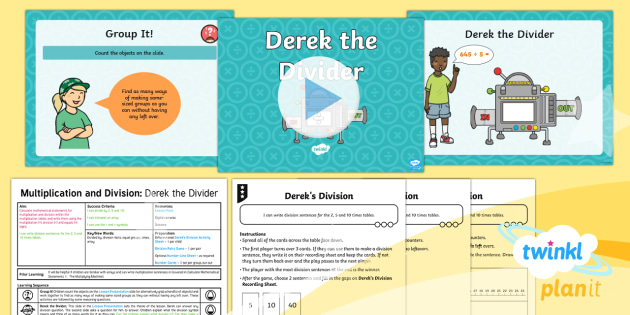 PlanIt Maths Y2 Multiplication and Division Lesson Pack Calculate Mathematical Statements (2) - Multiplication and Division, arrays, equal groups, divide, share, how many groups make?   Calculate