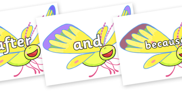 Connectives on Yellow Butterfly to Support Teaching on The Crunching Munching Caterpillar - Connectives, VCOP, connective resources, connectives display words, connective displays
