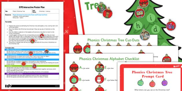 Phonic Christmas Tree EYFS Interactive Poster Plan and Resource Pack - phonic, christmas tree, poster, display