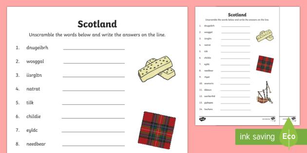 Scotland Word Unscramble - Literacy, Scotland, Vocabulary, reading, spelling, scottish, keywords,anagram, LIT, Scottish