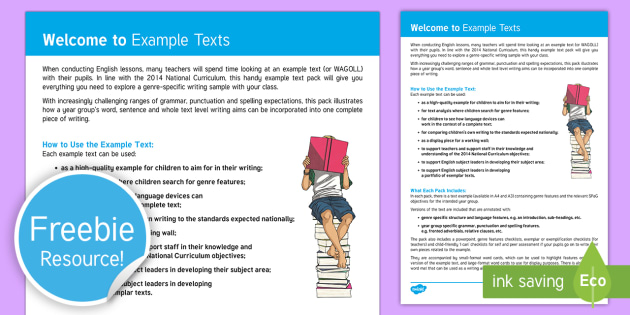 Example Texts User Guide - Example Texts, example, WAGOLL, Year 6, KS2, guide, writing, fiction, non-fiction, fiction, writing,