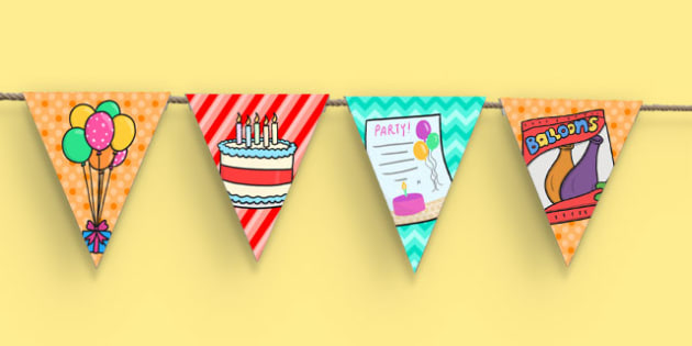 4th Birthday Party Picture Bunting - 4th birthday party, 4th birthday, birthday party, picture bunting