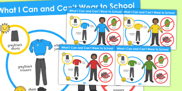 What I Can and Cant Wear to School Boys Poster - school, wear