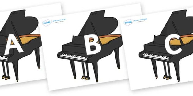A-Z Alphabet on Baby Grand Pianos - A-Z, A4, display, Alphabet frieze, Display letters, Letter posters, A-Z letters, Alphabet flashcards