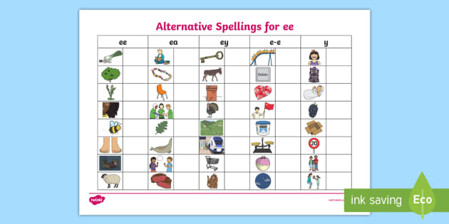 Alternative Spellings Ee Ey And E E Table Worksheet Ee