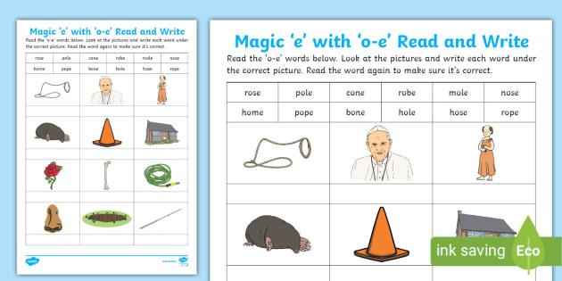 Magic E With O E Read And Write Worksheet Teacher Made