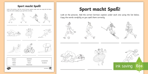 sports worksheet activity sheet german sports german