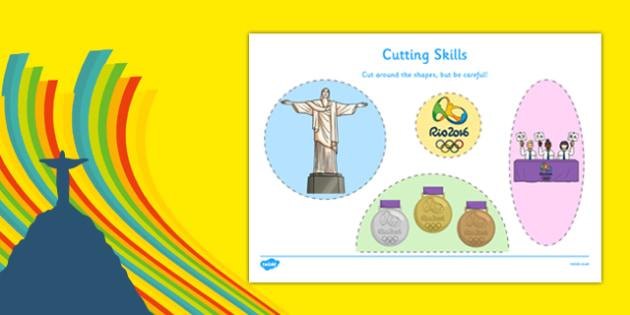 Rio Olympics 2016 Cutting Skills Worksheet / Activity Sheet - rio olympics, 2016 olympics, cutting skills, cut, skill, activity, sheet, worksheet