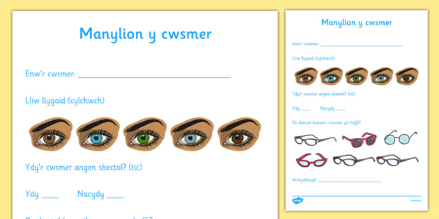 Manylion y cwsmer Welsh - welsh, opticians, role-play, customer details