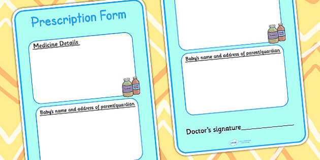 Baby Clinic Role Play Prescription Form - Baby Clinic Role Play Pack, baby healthcare, form, vaccinations, prescription, nurse, doctor, syringe, thermometer, role play, display, poster