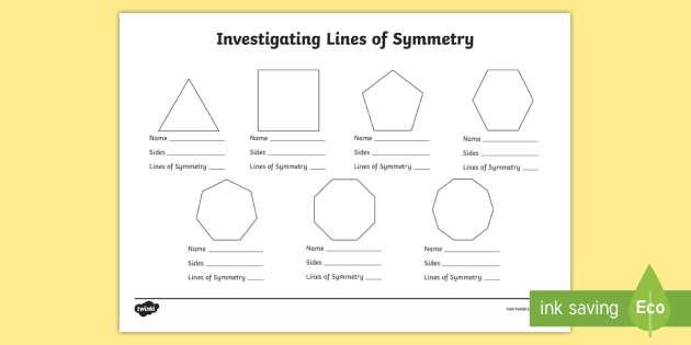 Investigating Lines of Symmetry Worksheet