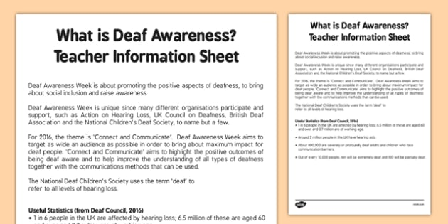 Deaf Awareness Week Teaching Information Guide