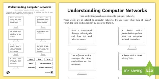 Understanding Computer Networks: Vocabulary Worksheet ...