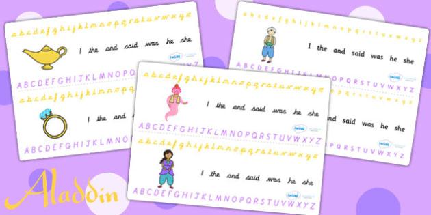 Aladdin Alphabet Strips - aladdin, alphabet, a-z, visual aids