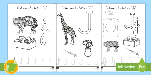 Hoja De Colorear La Letra J Abecedario Alfabeto Palabras Fonemas