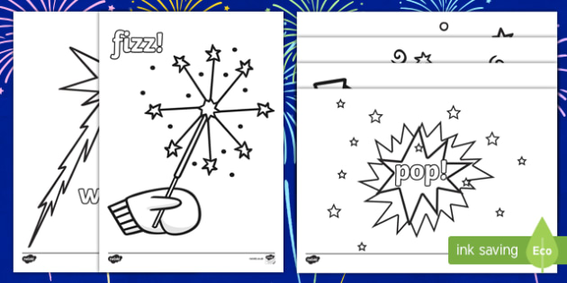 Bonfire Night Sounds Colouring Pages