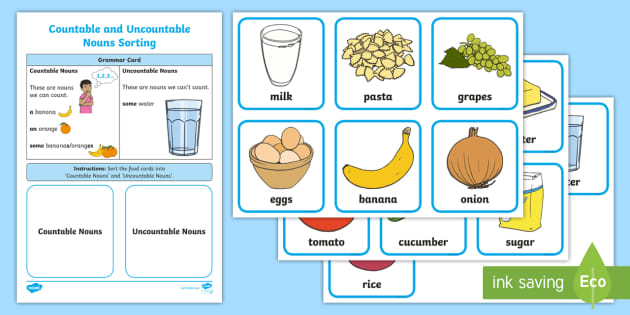 ESL Countable and Uncountable Nouns Food Sorting Card ... on possessive nouns worksheets, types of nouns worksheets, proper nouns worksheets, countable nouns elementary, modified nouns worksheets, countable uncountable nouns english, countable nouns list, nouns and verbs worksheets, count and noncount nouns worksheets, animals nouns worksheets, plural nouns kindergarten worksheets, countable uncountable nouns games, finding common nouns worksheets, mass and count nouns worksheets, countable nouns examples, nouns cut and paste worksheets, gender nouns worksheets,