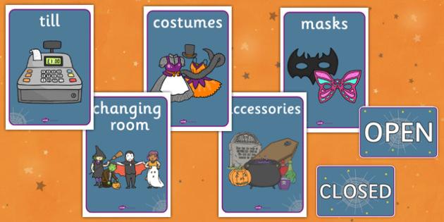 Halloween Fancy Dress Shop Role Play Signs - halloween, fancy dress shop, role play, signs, role play signs, fancy dress shop role play, roleplay