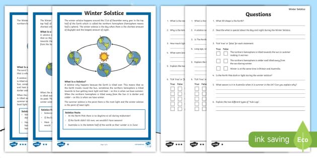 Winter Solstice KS2 Differentiated Reading Prehension