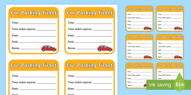 Car Parking Ticket - role-play, parking, car, ticket, parking ticket