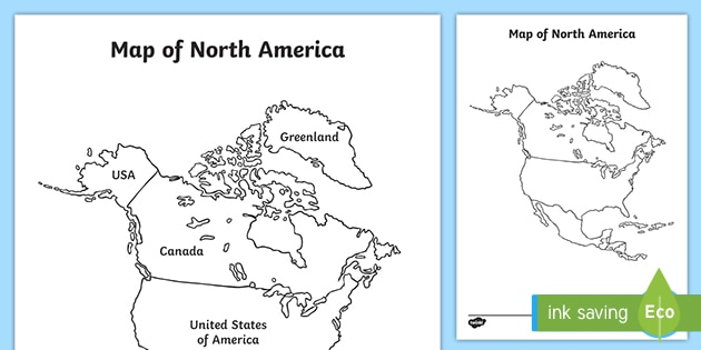 North American Map With and Without Names Worksheets