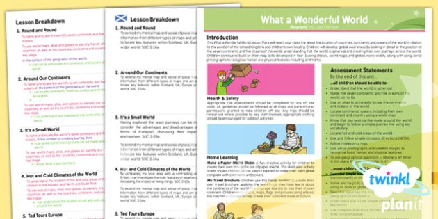 Geography: What a Wonderful World KS1 Planning Overview CfE