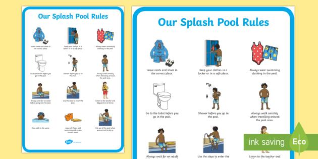 Splash Pool Rules Primary Display Poster Sen Resources