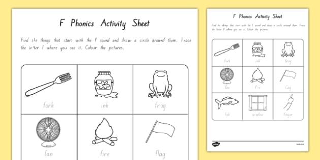 f Phonics Worksheet / Activity Sheet - nz, new zealand, f, phonics, activity, worksheet / activity sheet, worksheet