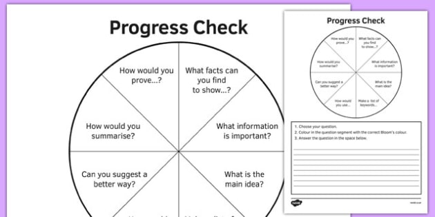 KS3 Bloom's Taxonomy Self-Assessment Question Wheel - ks3, blooms taxonomy, self-assessment