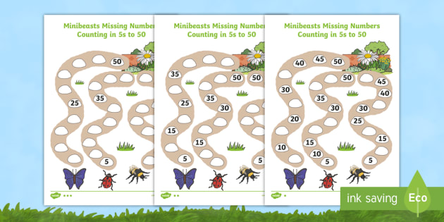 Differentiated Counting In 5s To 50 Minibeast Worksheet Activity