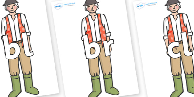 Initial Letter Blends on Farmer to Support Teaching on Pig in the Pond - Initial Letters, initial letter, letter blend, letter blends, consonant, consonants, digraph, trigraph, literacy, alphabet, letters, foundation stage literacy