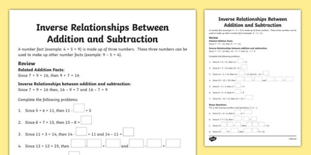relationship between addition and subtraction ks2