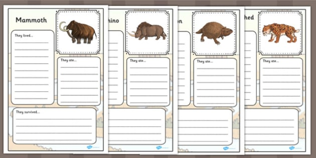 Prehistoric Beasts Fact File Worksheets Prehistoric Fact File
