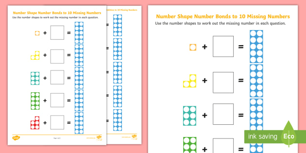 Number Shapes Number Bonds To 10 Missing Numbers Activity Sheets