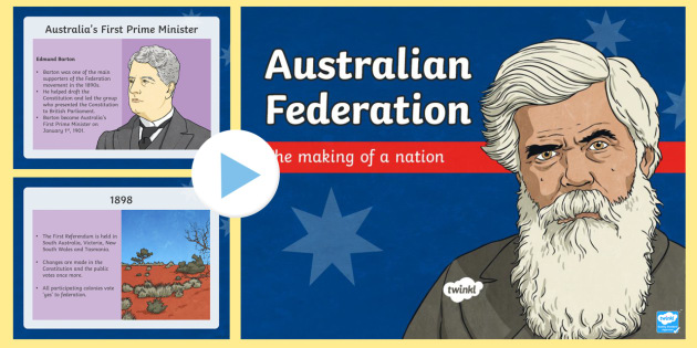 Australia's Path to Federation PowerPoint-Australia - Australia's System of Law & Government, father of federation, Australian federation, federation, He