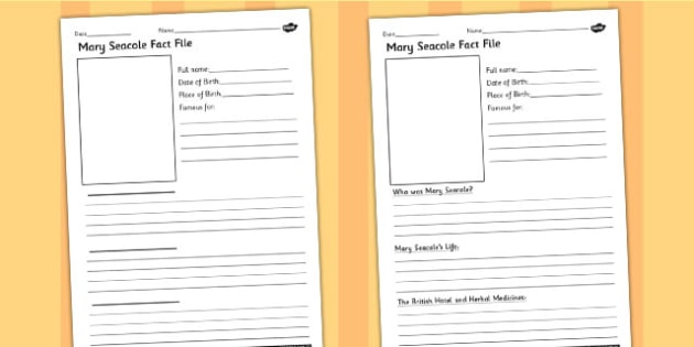 Mary Seacole Significant Individual Differentiated Fact Sheets