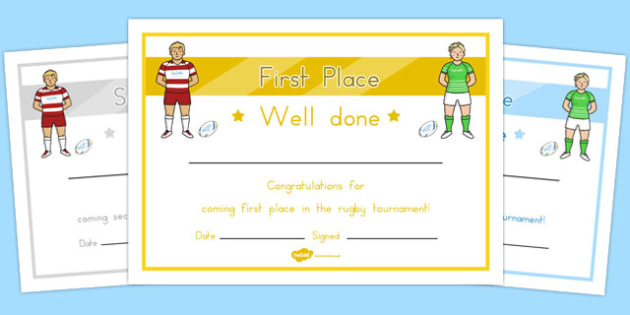 Rugby Tournament Certificates - australia, rugby, tournament, certificates