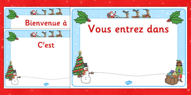 Christmas Editable Class Welcome Signs French - french, christmas, christmas welcome signs, christmas themed welcome signs, welcome signs, editable welcome signs