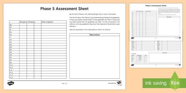 Phase 5 Phonics Letters and Sounds Assessment Sheets phase 5