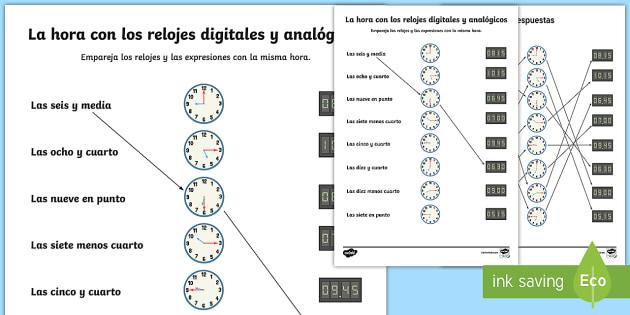 Digital and Analogue Clocks Worksheet / Activity Sheet