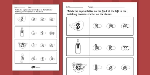 Stone Soup Themed Capital Letter Matching Worksheet - stone soup
