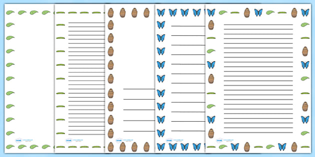 Butterfly Life Cycle Page Borders (Minibeasts) - Butterfly, caterpillar, egg, life cycle, lifecycle, pet, Page border, border,  KS1, Frogspawn, Tadpole, Froglet, Frog, Minibeasts, Topic, Foundation stage, knowledge and understanding of the world,
